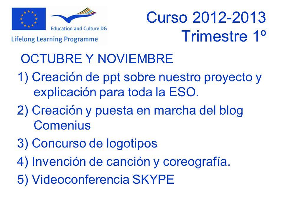 Curso 2012-2013 Trimestre 1º OCTUBRE Y NOVIEMBRE 1) Creación de ppt sobre nuestro proyecto y explicación para toda la ESO.