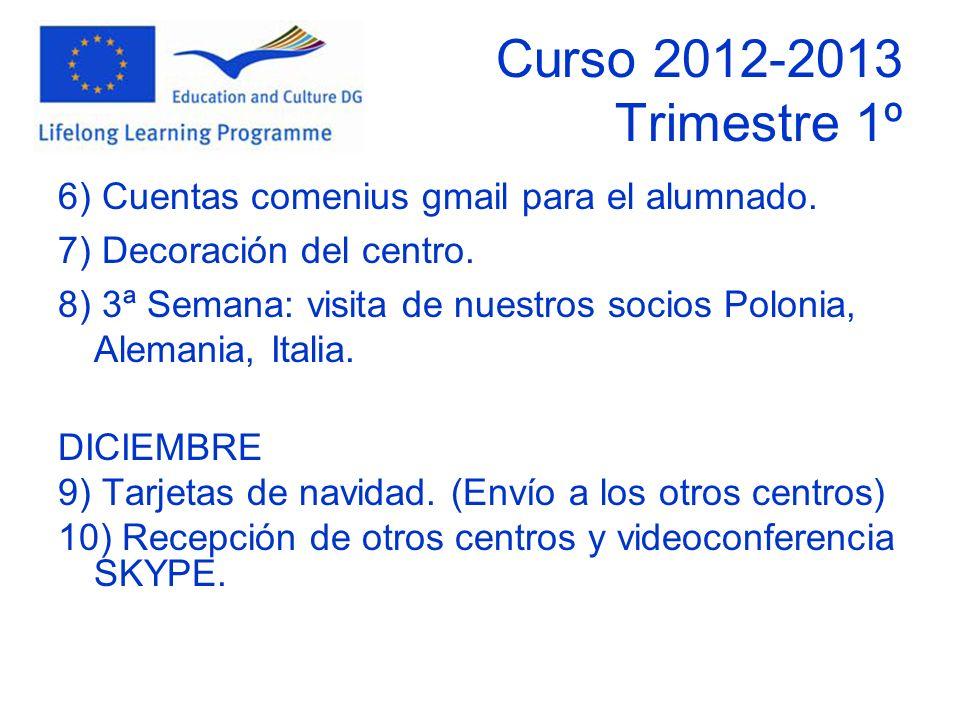 Curso 2012-2013 Trimestre 1º 6) Cuentas comenius gmail para el alumnado.