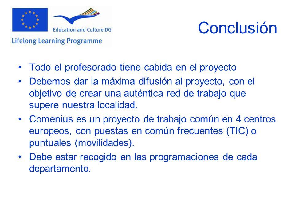 Conclusión Todo el profesorado tiene cabida en el proyecto Debemos dar la máxima difusión al proyecto, con el objetivo de crear una auténtica red de t