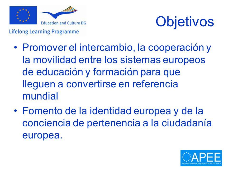 Objetivos Promover el intercambio, la cooperación y la movilidad entre los sistemas europeos de educación y formación para que lleguen a convertirse e