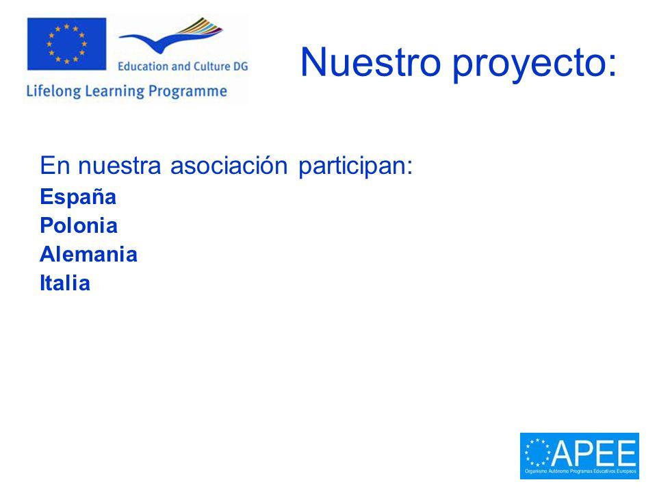 Nuestro proyecto: En nuestra asociación participan: España Polonia Alemania Italia