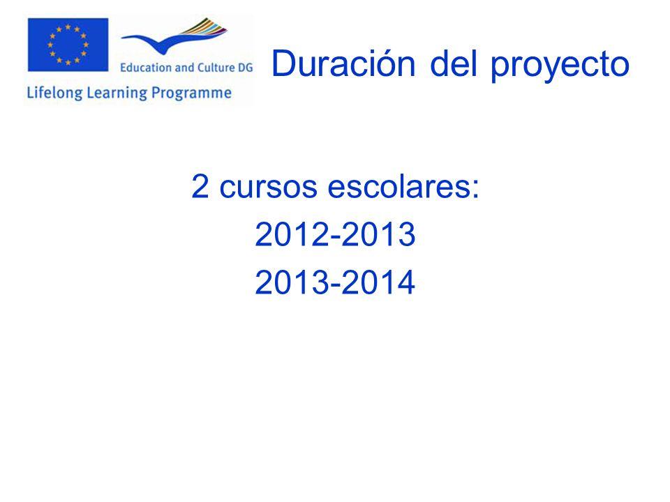 Duración del proyecto 2 cursos escolares: 2012-2013 2013-2014