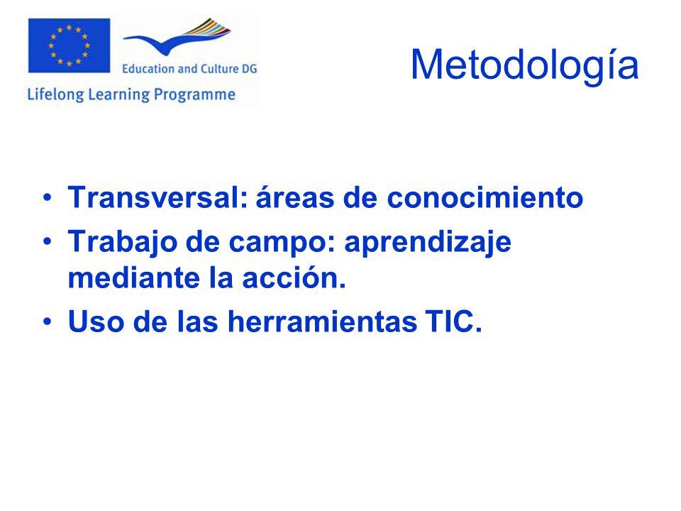 Metodología Transversal: áreas de conocimiento Trabajo de campo: aprendizaje mediante la acción. Uso de las herramientas TIC.