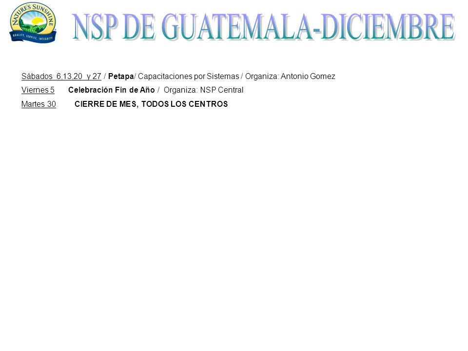 Sábados 6,13,20 y 27 / Petapa/ Capacitaciones por Sistemas / Organiza: Antonio Gomez Viernes 5Celebración Fin de Año / Organiza: NSP Central Martes 30 CIERRE DE MES, TODOS LOS CENTROS