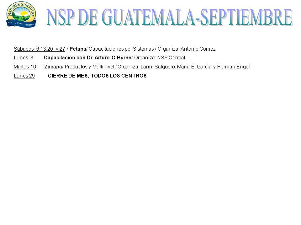 Sábados 6,13,20 y 27 / Petapa/ Capacitaciones por Sistemas / Organiza: Antonio Gomez Lunes 8Capacitación con Dr.