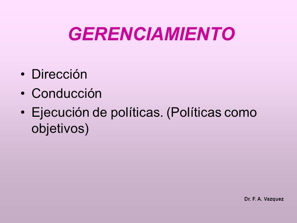 GERENCIAMIENTO Dirección Conducción Ejecución de políticas.