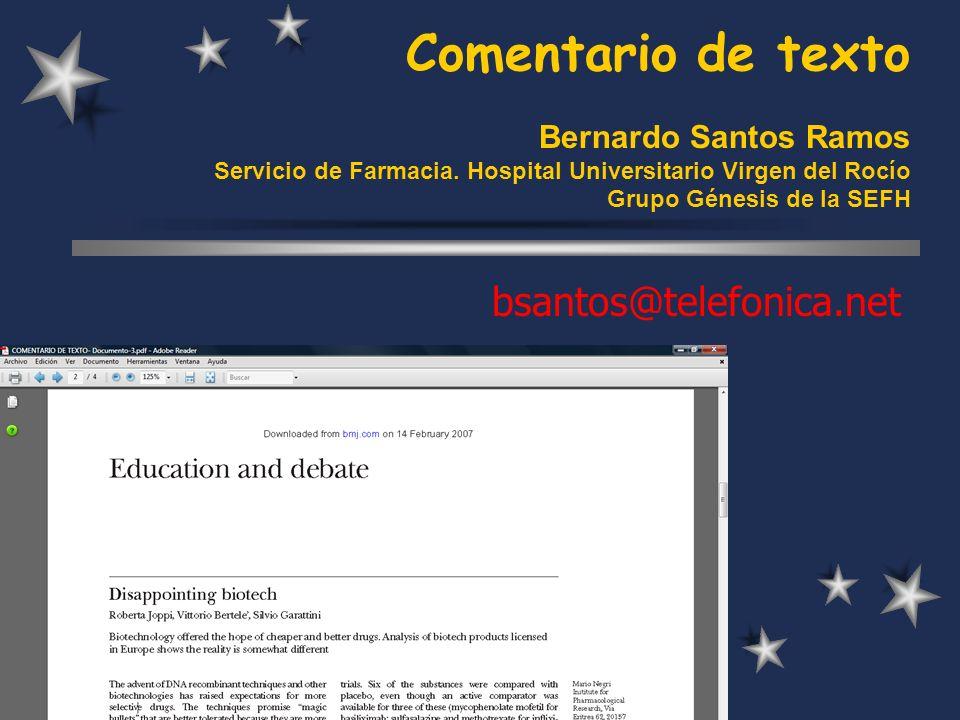 Comentario de texto Bernardo Santos Ramos Servicio de Farmacia.