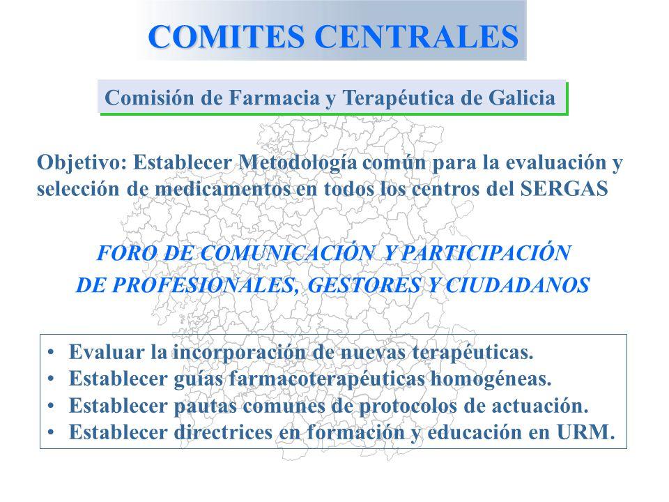COMITES CENTRALES Comisión de Farmacia y Terapéutica de Galicia Objetivo: Establecer Metodología común para la evaluación y selección de medicamentos en todos los centros del SERGAS FORO DE COMUNICACIÓN Y PARTICIPACIÓN DE PROFESIONALES, GESTORES Y CIUDADANOS Evaluar la incorporación de nuevas terapéuticas.