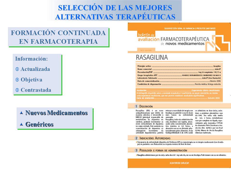 SELECCIÓN DE LAS MEJORES ALTERNATIVAS TERAPÉUTICAS FORMACIÓN CONTINUADA EN FARMACOTERAPIA Información: Actualizada Objetiva Contrastada Información: Actualizada Objetiva Contrastada Nuevos Medicamentos Nuevos Medicamentos Genéricos Genéricos Nuevos Medicamentos Nuevos Medicamentos Genéricos Genéricos