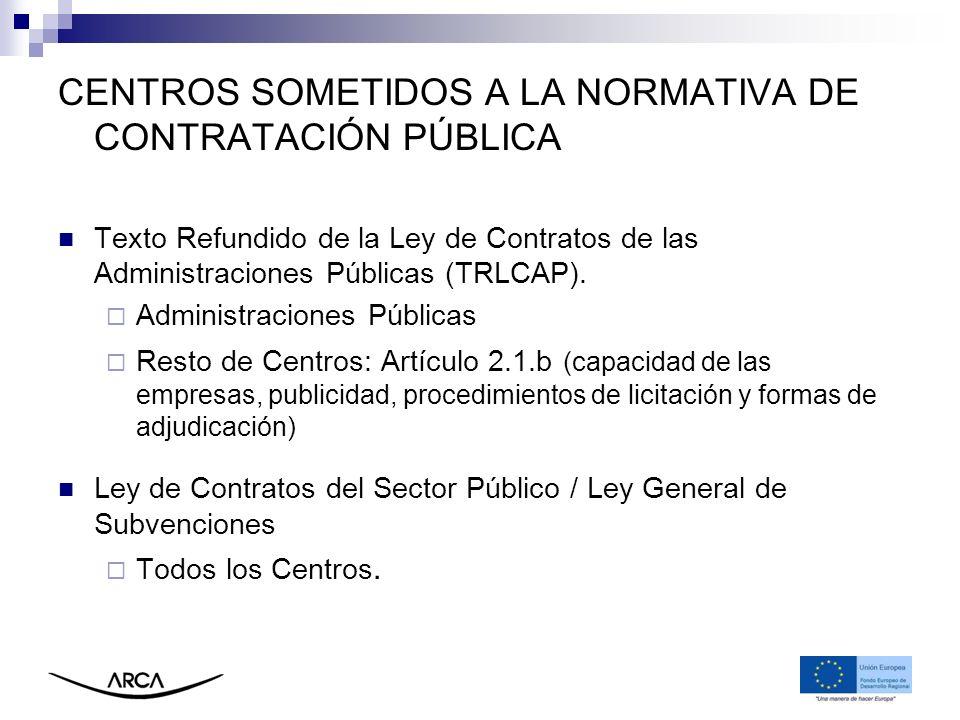 CENTROS SOMETIDOS A LA NORMATIVA DE CONTRATACIÓN PÚBLICA Texto Refundido de la Ley de Contratos de las Administraciones Públicas (TRLCAP). Administrac