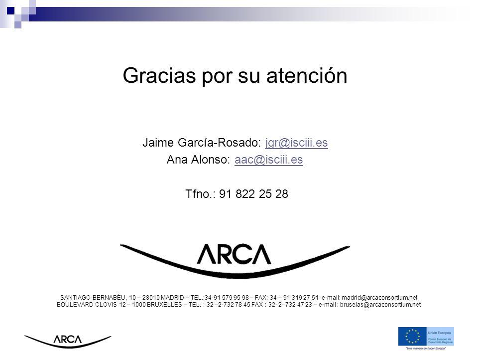 Gracias por su atención Jaime García-Rosado: jgr@isciii.esjgr@isciii.es Ana Alonso: aac@isciii.esaac@isciii.es Tfno.: 91 822 25 28 SANTIAGO BERNABÉU,