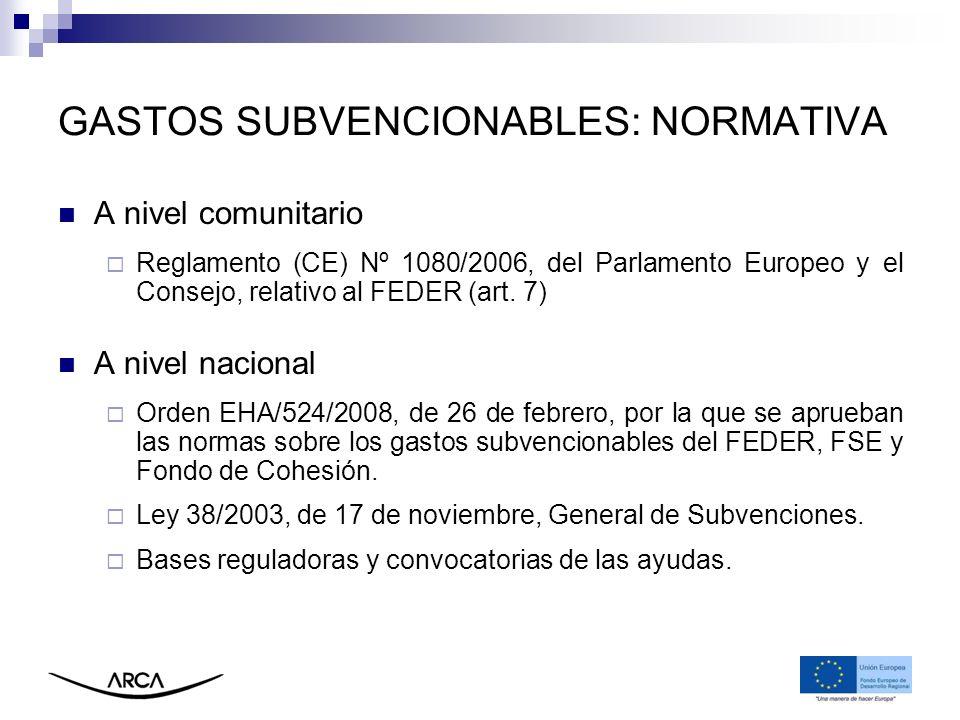 GASTOS SUBVENCIONABLES: NORMATIVA A nivel comunitario Reglamento (CE) Nº 1080/2006, del Parlamento Europeo y el Consejo, relativo al FEDER (art. 7) A