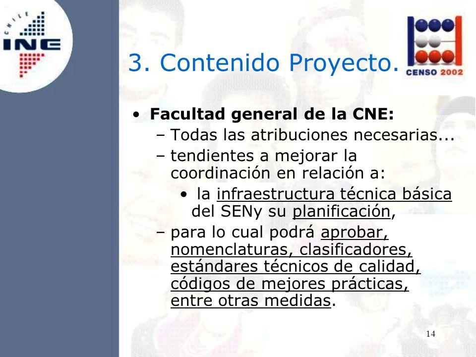 14 3. Contenido Proyecto. Facultad general de la CNE: –Todas las atribuciones necesarias...
