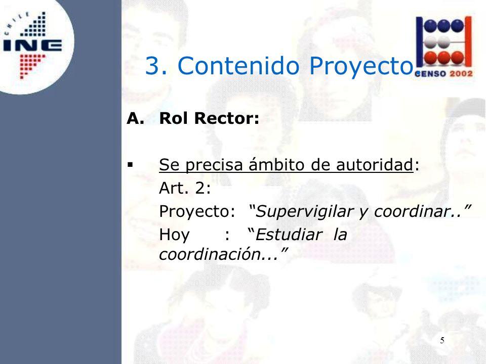 5 3. Contenido Proyecto. A.Rol Rector: Se precisa ámbito de autoridad: Art.