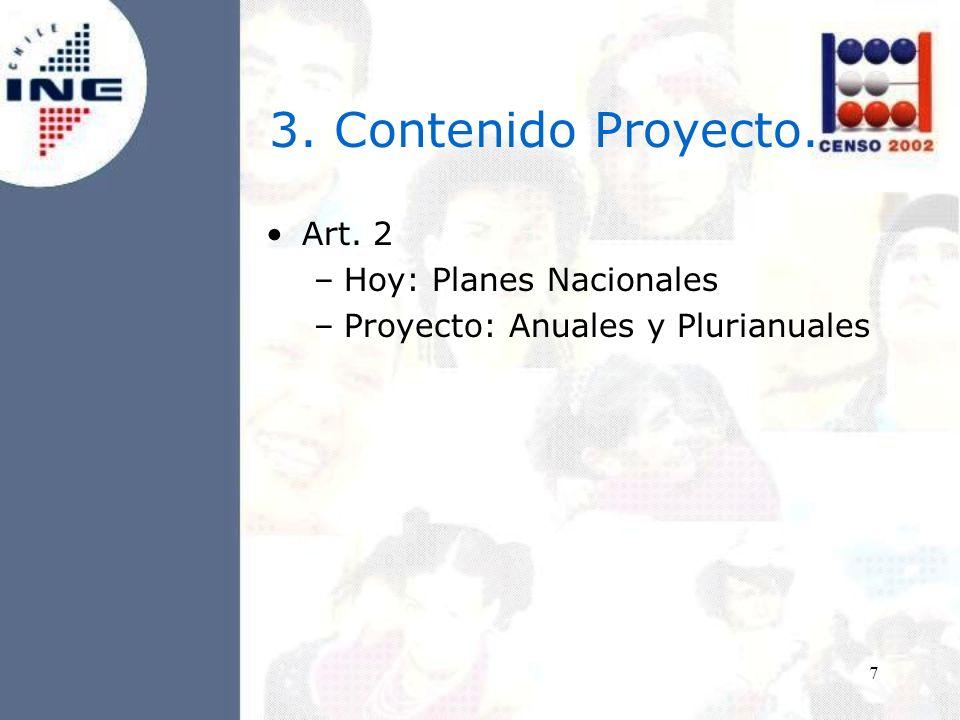 7 Art. 2 –Hoy: Planes Nacionales –Proyecto: Anuales y Plurianuales 3. Contenido Proyecto.
