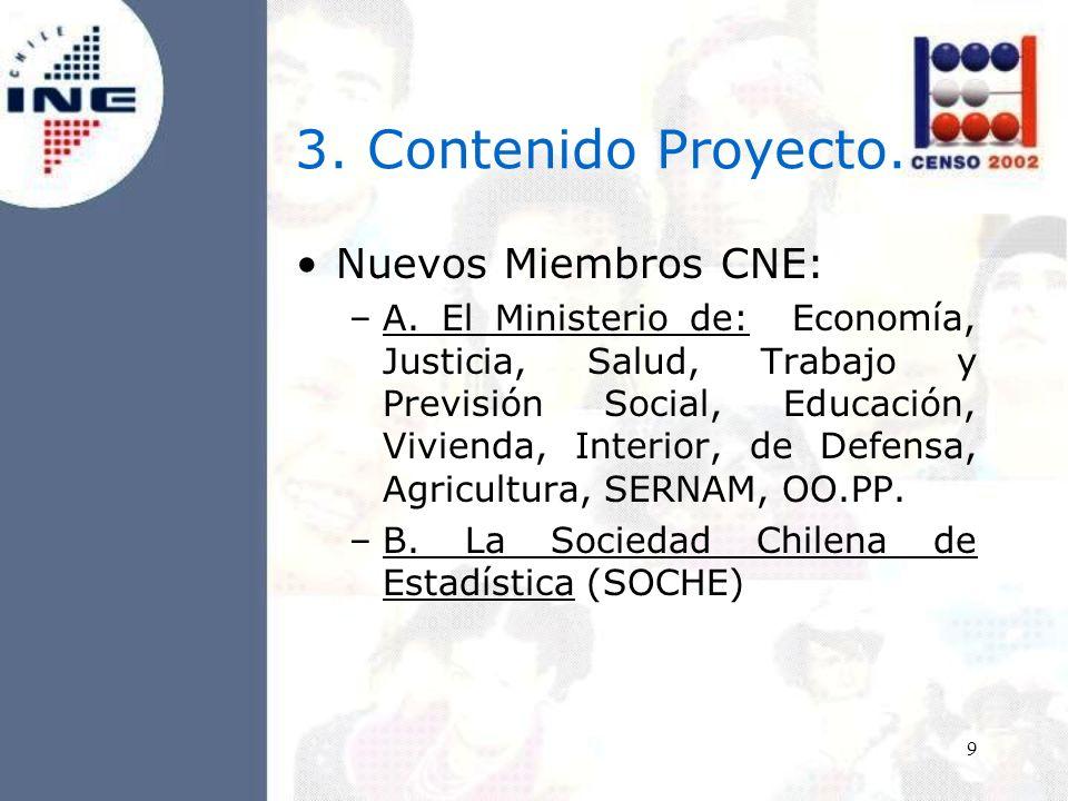 9 3. Contenido Proyecto. Nuevos Miembros CNE: –A.