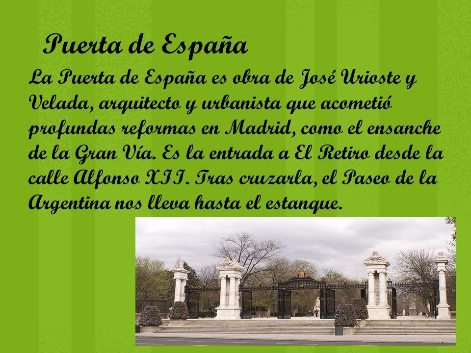 Puerta de España La Puerta de España es obra de José Urioste y Velada, arquitecto y urbanista que acometió profundas reformas en Madrid, como el ensan