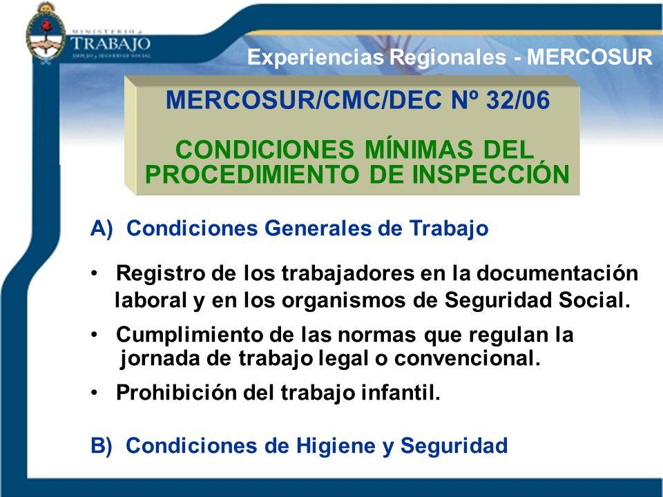 MERCOSUR/CMC/DEC Nº 32/06 CONDICIONES MÍNIMAS DEL PROCEDIMIENTO DE INSPECCIÓN A) Condiciones Generales de Trabajo Registro de los trabajadores en la d