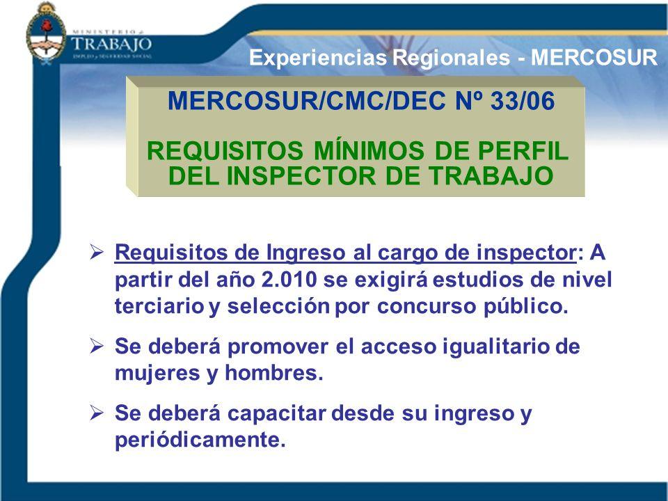 MERCOSUR/CMC/DEC Nº 33/06 REQUISITOS MÍNIMOS DE PERFIL DEL INSPECTOR DE TRABAJO Experiencias Regionales - MERCOSUR Requisitos de Ingreso al cargo de i