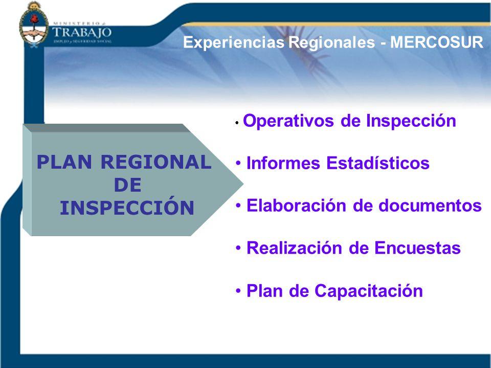 Experiencias Regionales - MERCOSUR PLAN REGIONAL DE INSPECCIÓN Operativos de Inspección Informes Estadísticos Elaboración de documentos Realización de