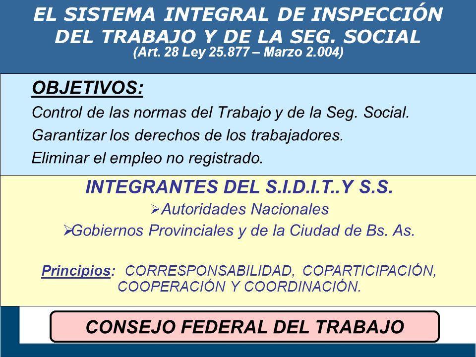 EL SISTEMA INTEGRAL DE INSPECCIÓN DEL TRABAJO Y DE LA SEG. SOCIAL (Art. 28 Ley 25.877 – Marzo 2.004) OBJETIVOS: Control de las normas del Trabajo y de