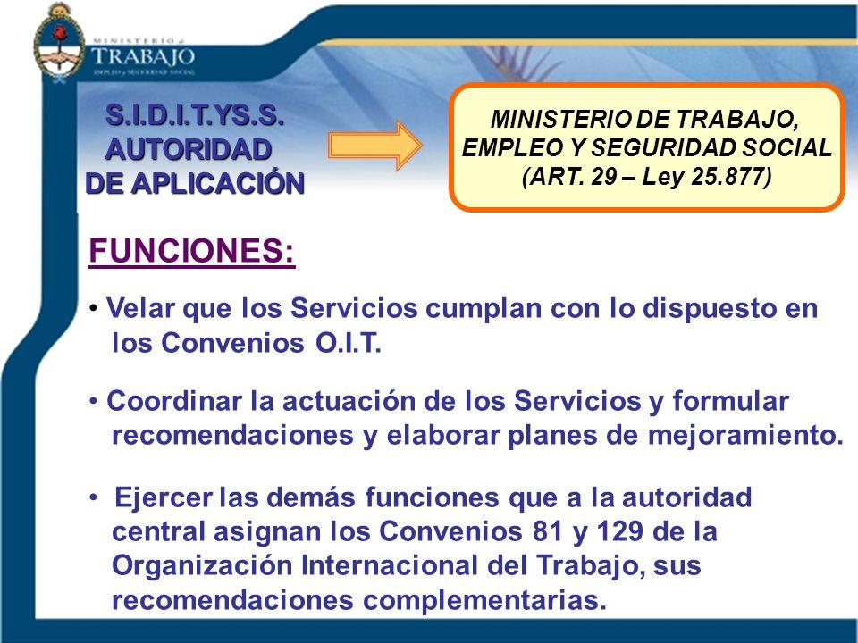 S.I.D.I.T.YS.S.AUTORIDAD DE APLICACIÓN MINISTERIO DE TRABAJO, EMPLEO Y SEGURIDAD SOCIAL (ART. 29 – Ley 25.877) FUNCIONES: Velar que los Servicios cump