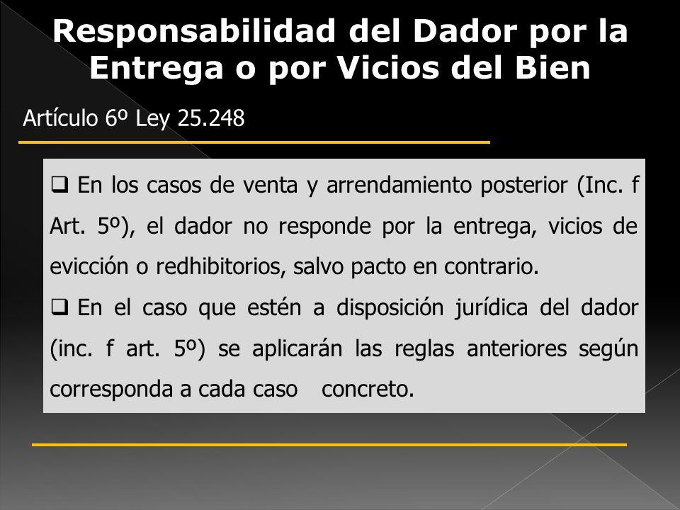 Responsabilidad del Dador por la Entrega o por Vicios del Bien Artículo 6º Ley 25.248 En los casos de venta y arrendamiento posterior (Inc. f Art. 5º)