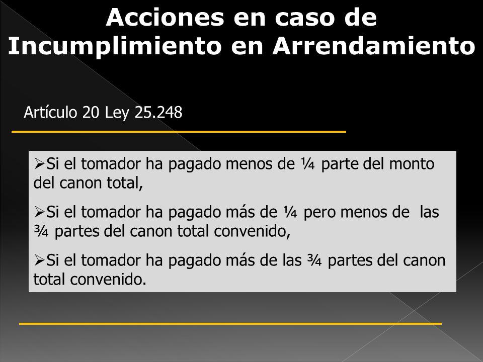Acciones en caso de Incumplimiento en Arrendamiento de Inmuebles Artículo 20 Ley 25.248 Si el tomador ha pagado menos de ¼ parte del monto del canon t