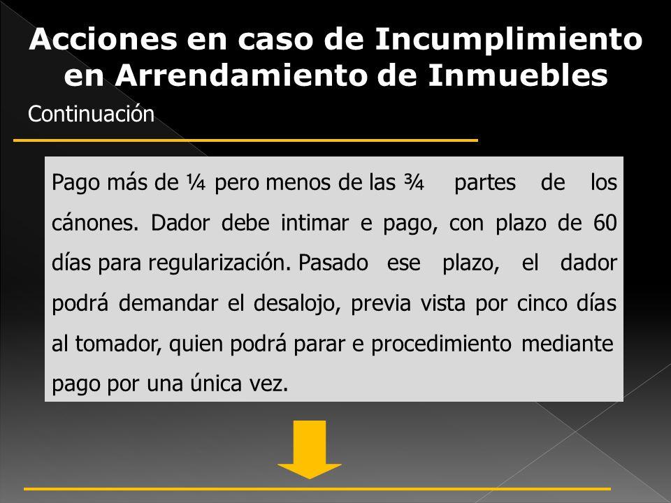 Acciones en caso de Incumplimiento en Arrendamiento de Inmuebles Pago más de ¼ pero menos de las ¾ partes de los cánones. Dador debe intimar e pago, c