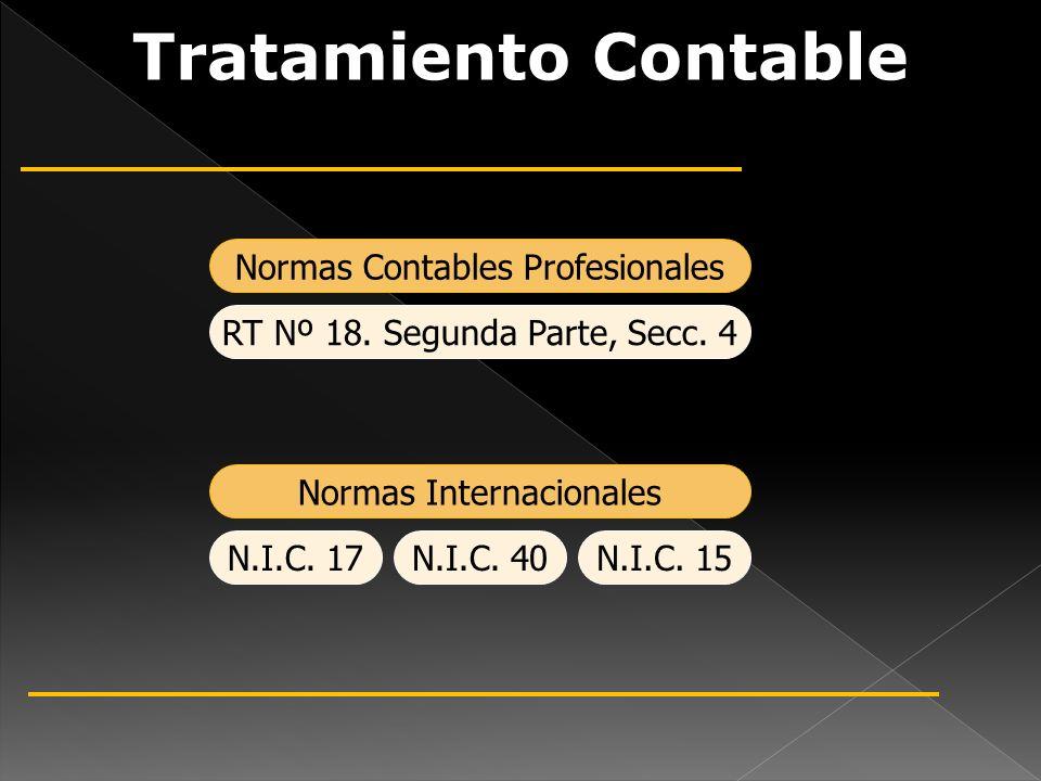 Tratamiento Contable Normas Contables Profesionales Normas Internacionales RT Nº 18. Segunda Parte, Secc. 4 N.I.C. 17N.I.C. 40N.I.C. 15