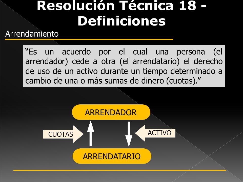Resolución Técnica 18 - Definiciones Arrendamiento Es un acuerdo por el cual una persona (el arrendador) cede a otra (el arrendatario) el derecho de u