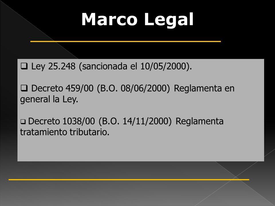 Marco Legal Ley 25.248 (sancionada el 10/05/2000). Decreto 459/00 (B.O. 08/06/2000) Reglamenta en general la Ley. Decreto 1038/00 (B.O. 14/11/2000) Re