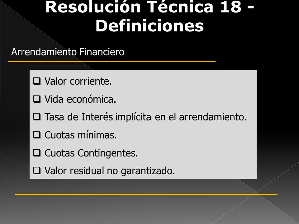 Resolución Técnica 18 - Definiciones Arrendamiento Financiero Valor corriente. Vida económica. Tasa de Interés implícita en el arrendamiento. Cuotas m