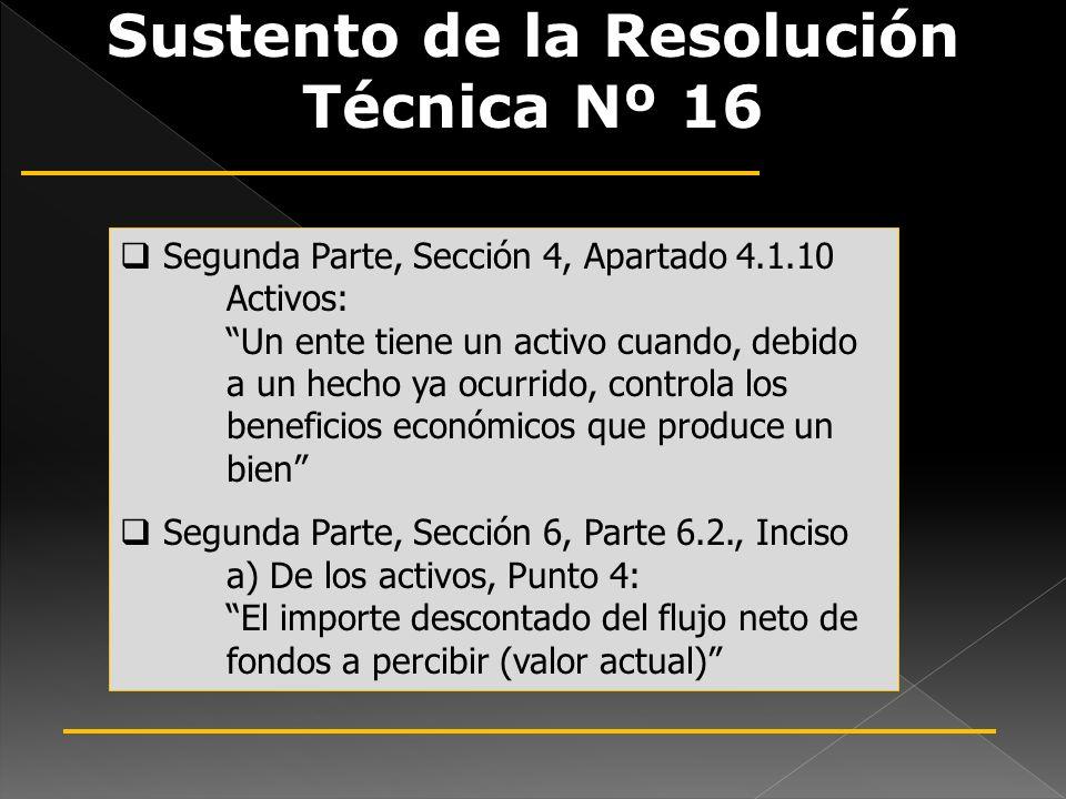 Sustento de la Resolución Técnica Nº 16 Segunda Parte, Sección 4, Apartado 4.1.10 Activos: Un ente tiene un activo cuando, debido a un hecho ya ocurri