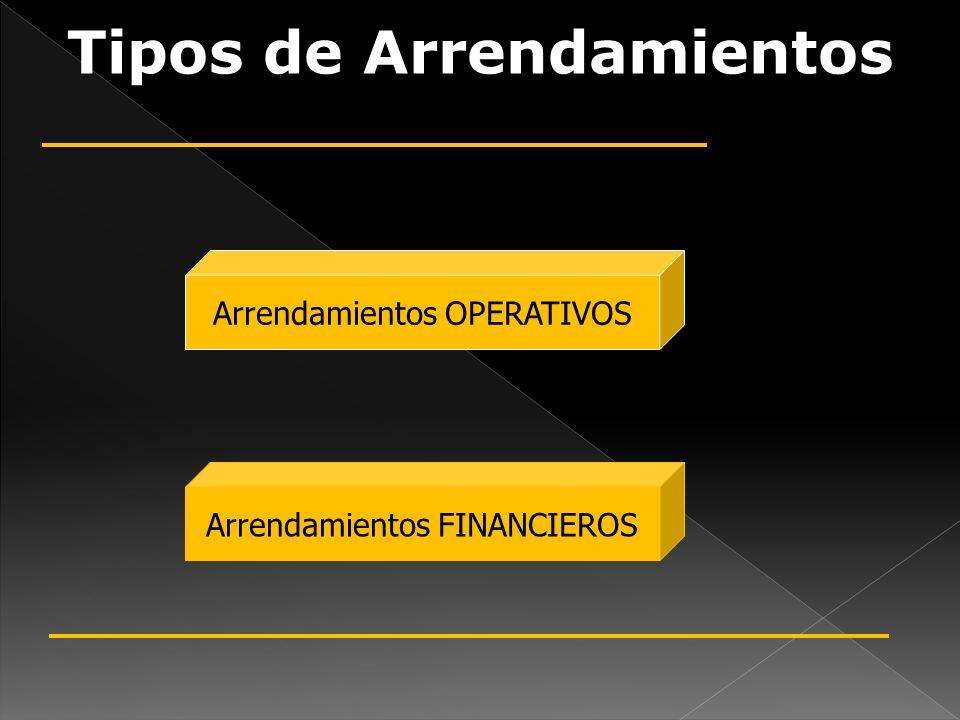 Tipos de Arrendamientos Arrendamientos OPERATIVOS Arrendamientos FINANCIEROS
