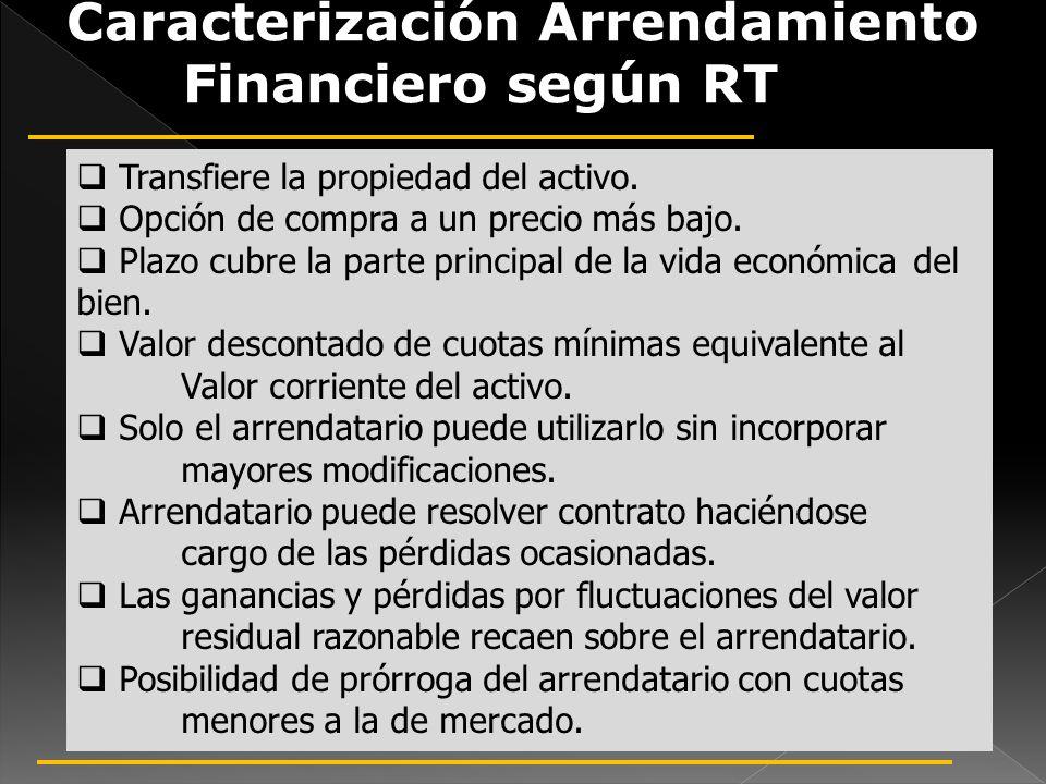 Caracterización Arrendamiento Financiero según RT 18 Transfiere la propiedad del activo. Opción de compra a un precio más bajo. Plazo cubre la parte p