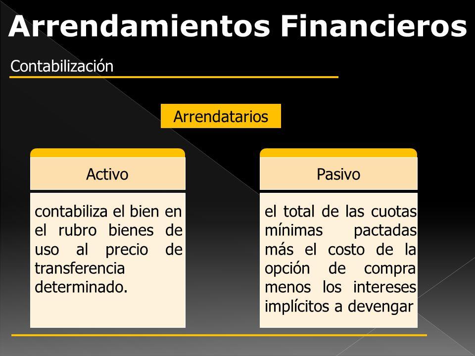 Arrendamientos Financieros Contabilización Arrendatarios ActivoPasivo contabiliza el bien en el rubro bienes de uso al precio de transferencia determi