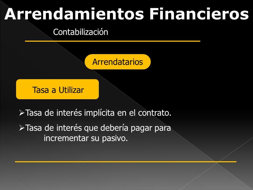 Arrendamientos Financieros Contabilización Arrendatarios Tasa a Utilizar Tasa de interés implícita en el contrato. Tasa de interés que debería pagar p