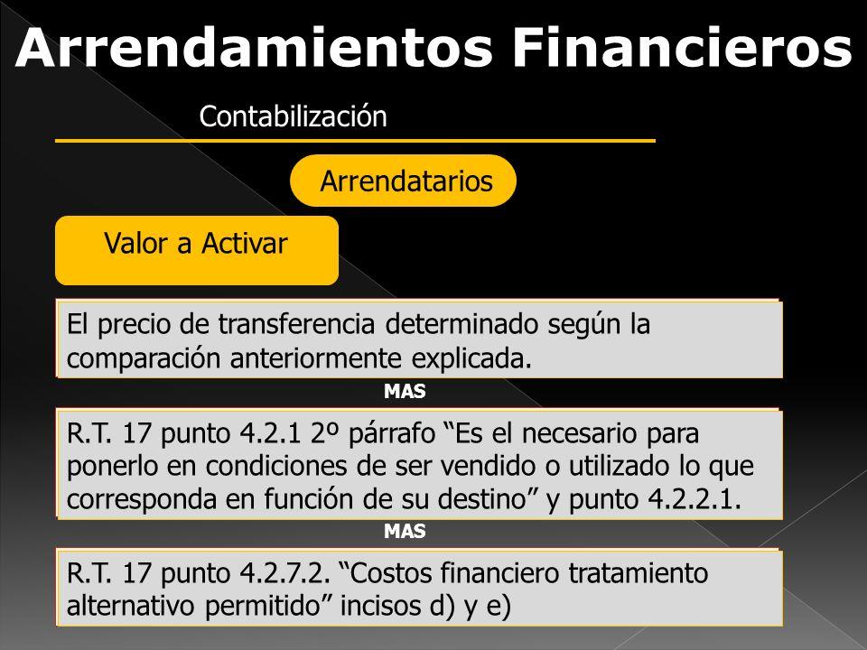 Arrendamientos Financieros Contabilización Arrendatarios Valor a Activar El precio de transferencia determinado según la comparación anteriormente exp
