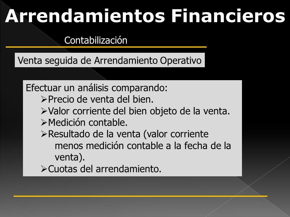 Arrendamientos Financieros Efectuar un análisis comparando: Precio de venta del bien. Valor corriente del bien objeto de la venta. Medición contable.
