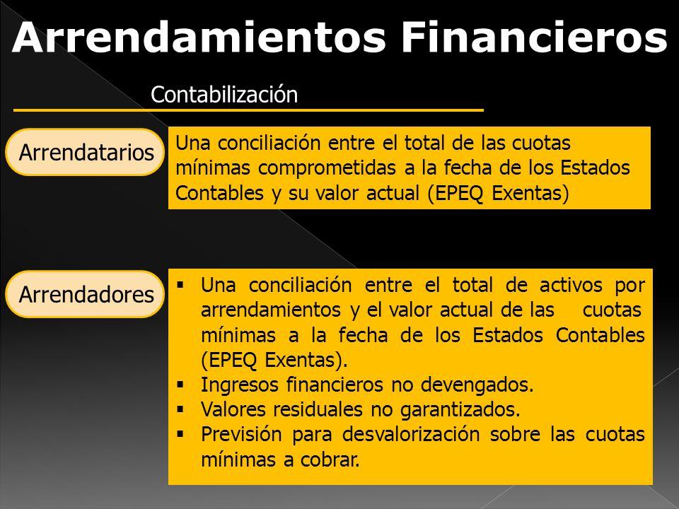 Arrendamientos Financieros Contabilización Arrendatarios Una conciliación entre el total de las cuotas mínimas comprometidas a la fecha de los Estados