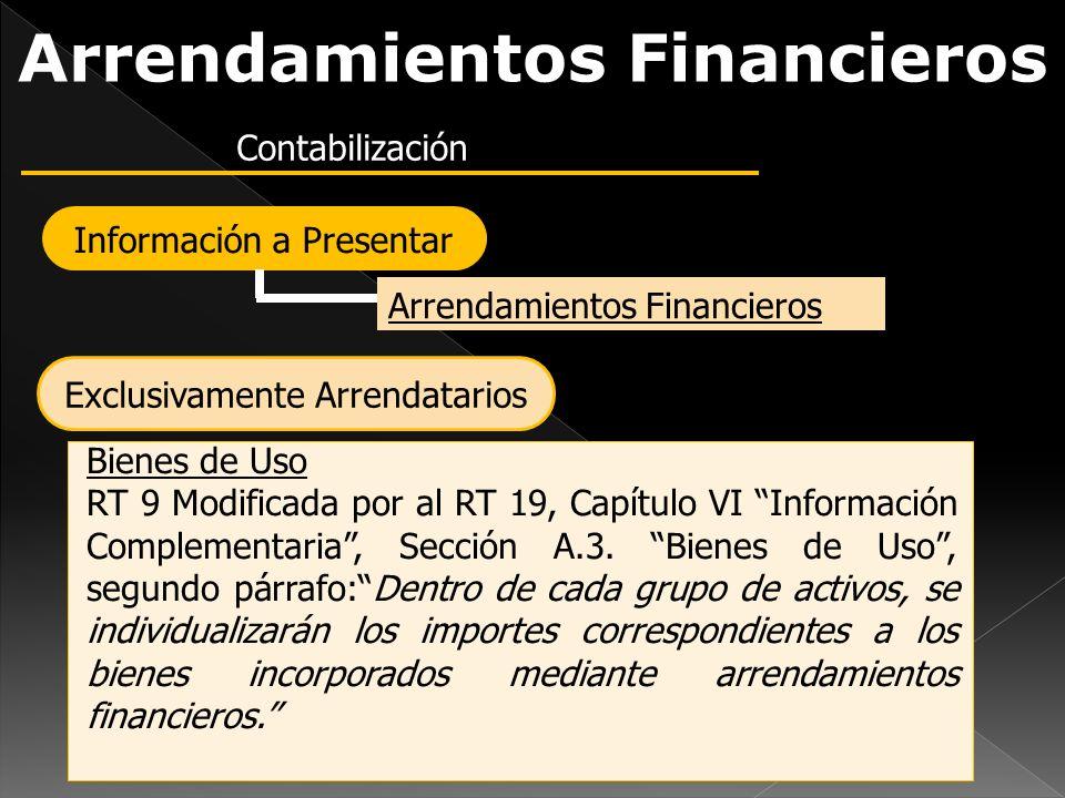 Arrendamientos Financieros Contabilización Arrendamientos Financieros Información a Presentar Bienes de Uso RT 9 Modificada por al RT 19, Capítulo VI