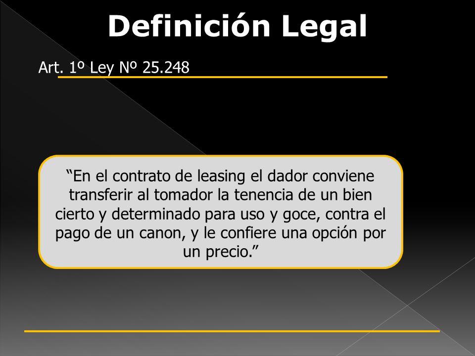 Definición Legal Art. 1º Ley Nº 25.248 En el contrato de leasing el dador conviene transferir al tomador la tenencia de un bien cierto y determinado p