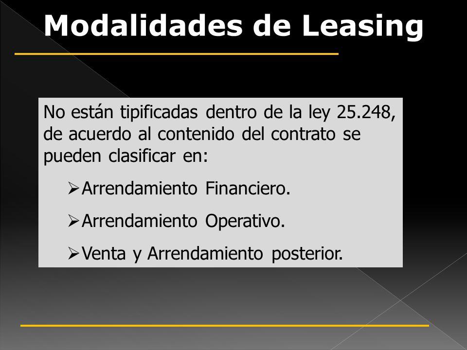 Modalidades de Leasing No están tipificadas dentro de la ley 25.248, de acuerdo al contenido del contrato se pueden clasificar en: Arrendamiento Finan