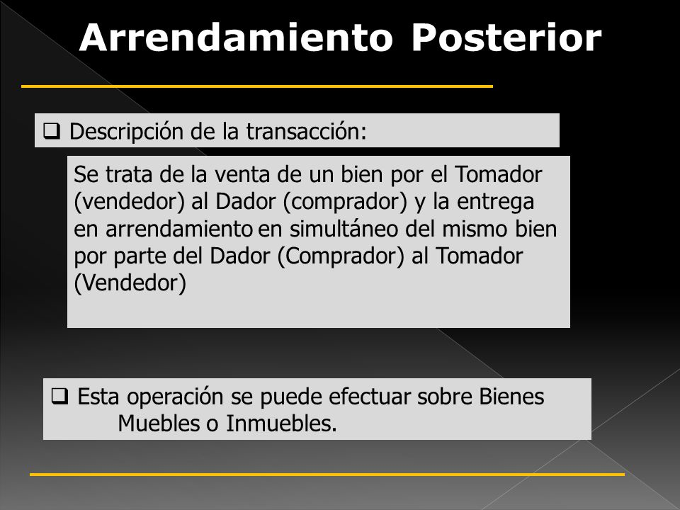 Arrendamiento Posterior Descripción de la transacción: Se trata de la venta de un bien por el Tomador (vendedor) al Dador (comprador) y la entrega en