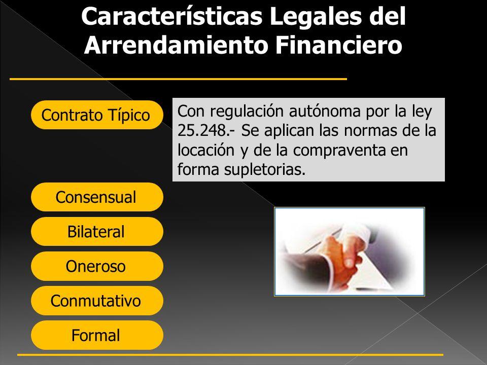 Características Legales del Arrendamiento Financiero Contrato Típico Consensual Bilateral Oneroso Conmutativo Formal Con regulación autónoma por la le