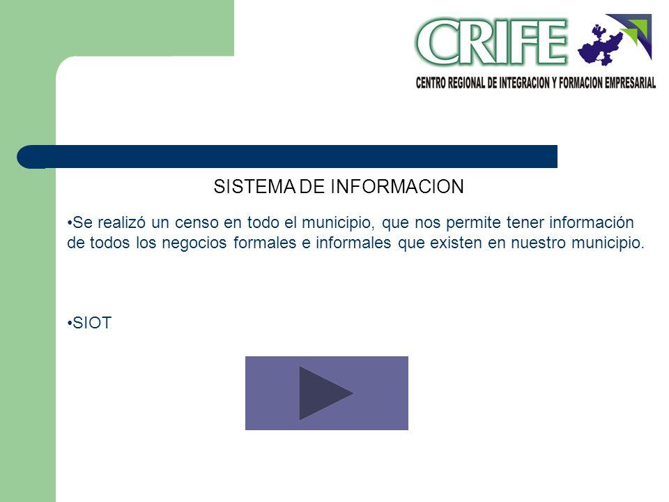 SISTEMA DE INFORMACION Se realizó un censo en todo el municipio, que nos permite tener información de todos los negocios formales e informales que exi