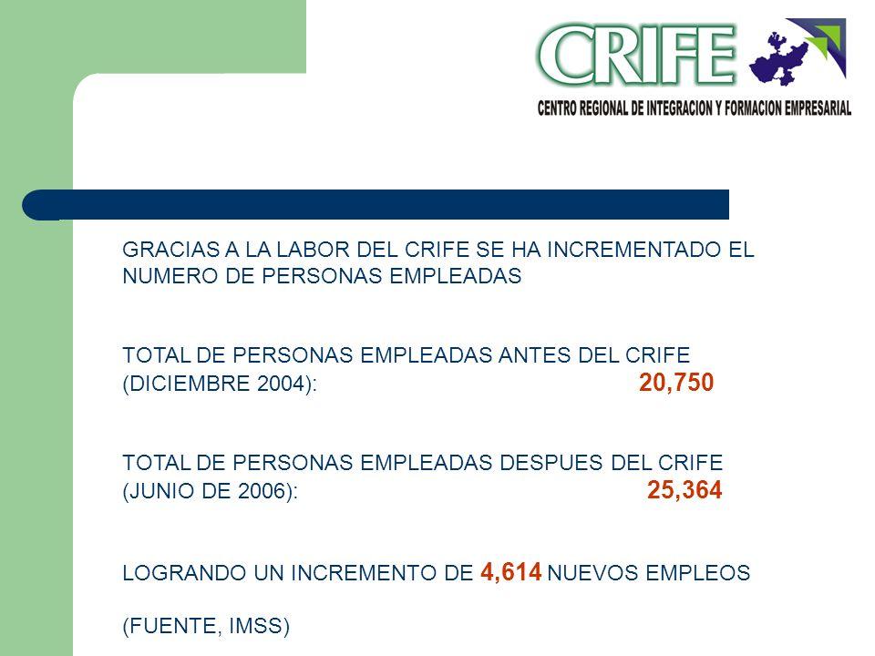 GRACIAS A LA LABOR DEL CRIFE SE HA INCREMENTADO EL NUMERO DE PERSONAS EMPLEADAS TOTAL DE PERSONAS EMPLEADAS ANTES DEL CRIFE (DICIEMBRE 2004): 20,750 T