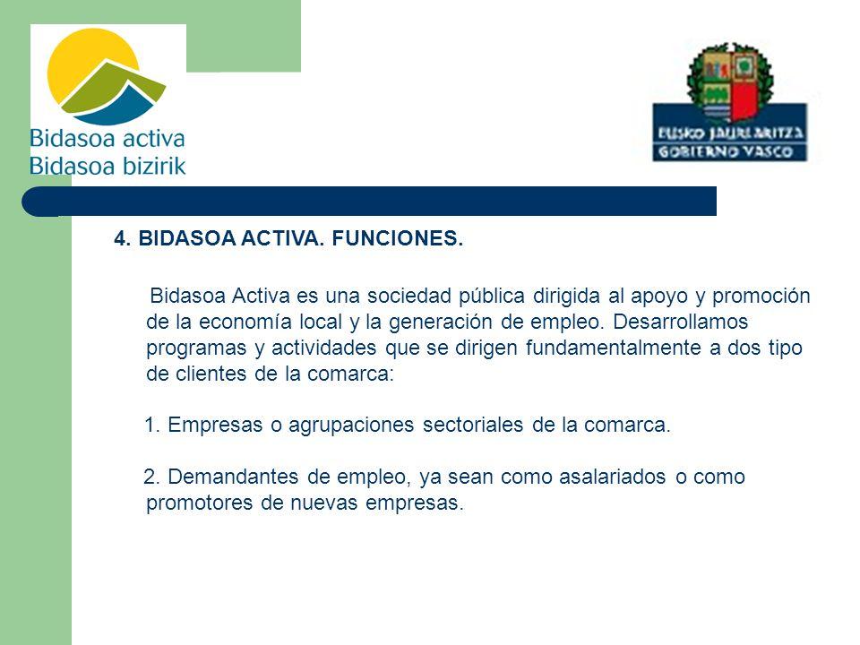 4.BIDASOA ACTIVA. FUNCIONES.