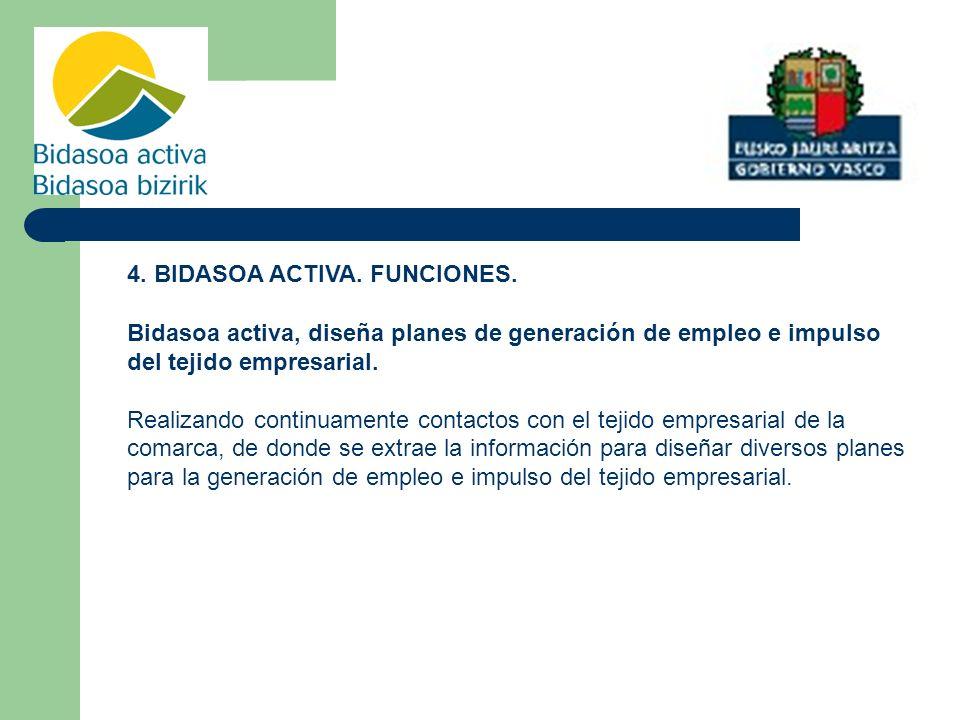 4. BIDASOA ACTIVA. FUNCIONES. Bidasoa activa, diseña planes de generación de empleo e impulso del tejido empresarial. Realizando continuamente contact
